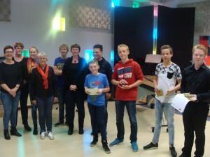 De winnaars van de eerste Slach fan Fryslân: Ensemble Bolsward, Leon Moelker, Jelle van Huizen, Sian Sterkenburg, Gerben Jongsma, Egbert de Vries was naar de studiedag van SDG